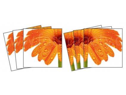 Dekorace na kachličky, vzor Oranžová gerbera, 15x15cm