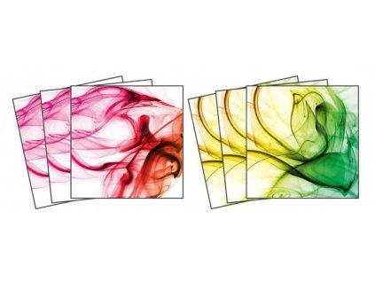 Dekorace na kachličky, vzor Barevný kouř, 15x15cm