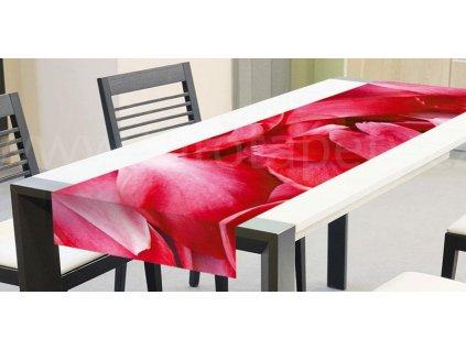 Běhoun na stůl - Červené okvětní lístky, 40x140cm, TS 005