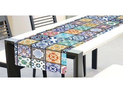Běhoun na stůl - Vintage kachličky, 40x140cm, TS 016