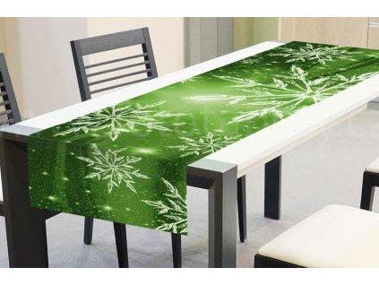 Vánoční běhoun na stůl - Zelené sněhové vločky, 40x140cm, TS V02, skladem 1ks!!