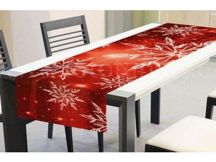 Vánoční běhoun na stůl - Červené sněhové vločky, 40x140cm, TS V03