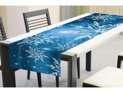 Vánoční běhoun na stůl - Modré sněhové vločky, 40x140cm, TS V04