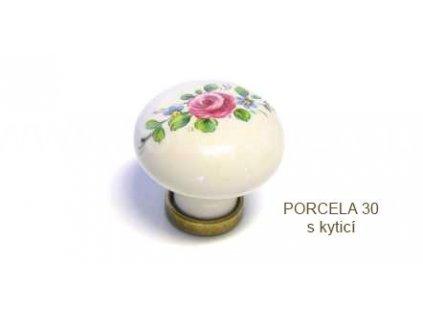 kovový knopek PORCELA 30 béžová s kyticí