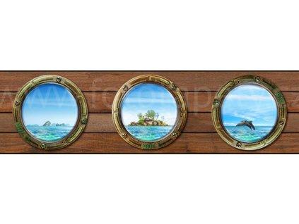 Samolepící bordura - Okénko lodi, 14cm x 5m,  WB 8221