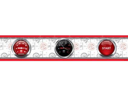 Dětská samolepící bordura - Cars Red Race, 14cm x 5m,  WBD 8061