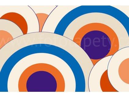 Třídílná vliesová fototapeta Velké modré kruhy, rozměr 330x220cm, XL 372