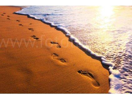 Pětidílná vliesová fototapeta Stopy v písku rozměr 375x250cm, MS-5-0193