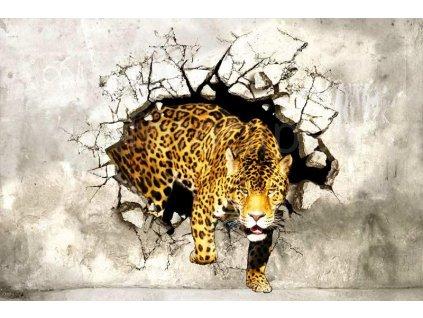 Třídílná vliesová fototapeta Lovící panther, rozměr 330x220cm, XL 468