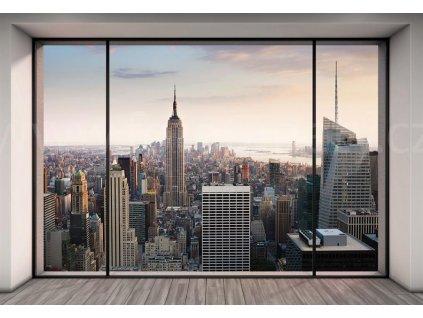 Čtyřdílná vliesová fototapeta Pohled na New York z bytu v podkroví, 368x248cm, XXL4-916