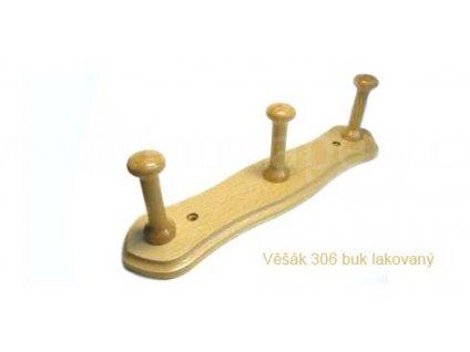 Dřevěný věšák 306 - tříkolíkový