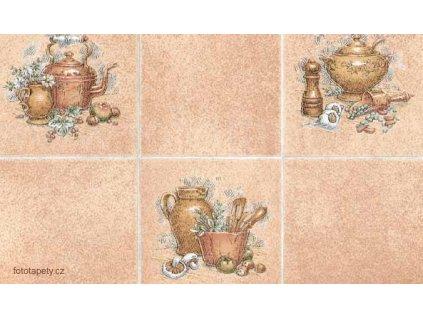 Samolepící tapeta imitace obkladaček, konvice a džbán