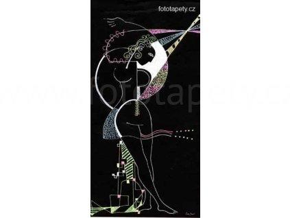 Samolepící velkoplošná nálepka - Kouzelná žena v černém, 100x180cm