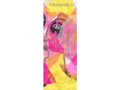 Samolepící velkoplošná nálepka - Dáma ve žlutém, 100x270cm