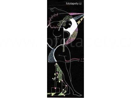 Samolepící velkoplošná nálepka - Kouzelná žena v černém, 100x270cm