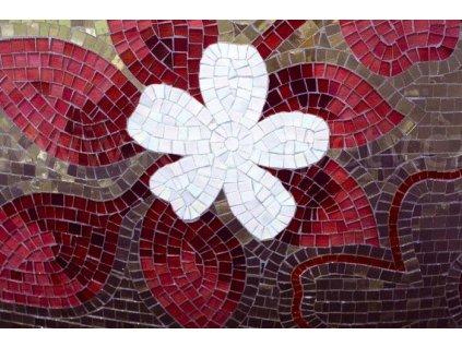 Samolepící fototapeta na podlahu - Červenofialová mozaika, 255x170cm, 030