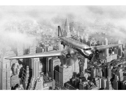 Samolepící fototapeta na podlahu -  Letadlo nad New Yorkem, 255x170cm, 037