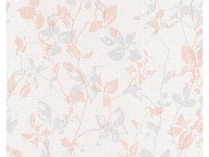 Vliesová tapeta na zeď Hygge, 0,53x10,05m, 3639-73 - šedo růžové listy