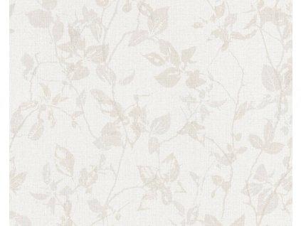 Vliesová tapeta na zeď Hygge, 0,53x10,05m, 3639-75 - krémovo šedé listy