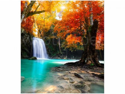 vliesová fototapeta Vodopád hluboko v lese