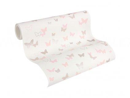 Vliesová tapeta na zeď Esprit Kids 5, 0,53x10,05m, 3028-91 - růžoví motýlci