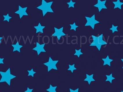 Samolepící velur - Modré hvězdy, 45cm x 1,2m, 303-0002