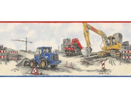 Papírová bordura na zeď Rasch 293609 - Bagr, nákladní auto, kolekce Kids & teens III 25,5cm x 5 m