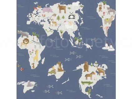 Papírová tapeta na zeď Rasch 210910 - Mapa světa se zvířátky, kolekce Kids & teens III 0,53 x 10,05 m