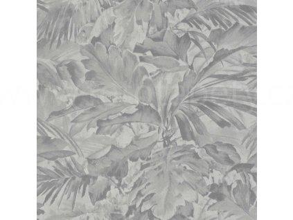 Vliesová tapeta na zeď Rasch 529241 - Šedé listy, kolekce Mandalay 0,53 x 10,05 m