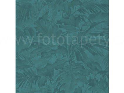 Vliesová tapeta na zeď Rasch 529258 - Tyrkysové listy, kolekce Mandalay 0,53 x 10,05 m