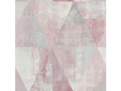 Vliesová tapeta na zeď Rasch 410938 - Růžové trojúhelníky, kolekce Hyde Park 0,53 x 10,05 m