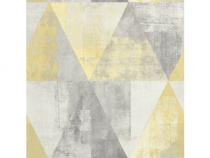 Vliesová tapeta na zeď Rasch 410921 - Žluté trojúhelníky, kolekce Hyde Park 0,53 x 10,05 m