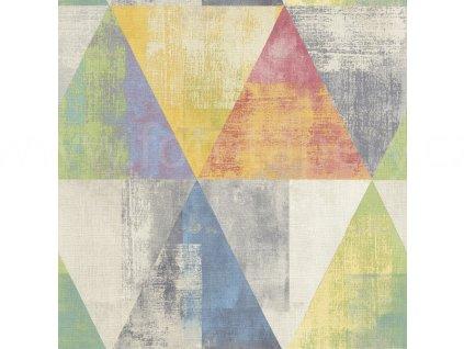 Vliesová tapeta na zeď Rasch 410914  Barevné trojúhelníky, kolekce Hyde Park 0,53 x 10,05 m