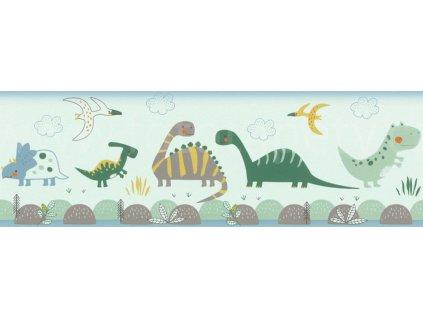 Papírová bordura na zeď Rasch 248852 - Dinosauři, kolekce Bambino XVIII 17,2 x 500 cm