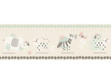 Papírová bordura na zeď Rasch 249866 - Zoo - sloni, zebry, kolekce Bambino XVIII 17,2 x 500 cm