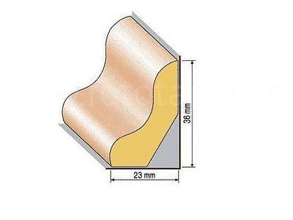 Dřevěná profilová lišta soklová, 43, dub (Varianta Dub 1 metr)