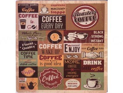 KP113 Korková podložka 25 x 25 cm, Coffee/ kafé nápisy