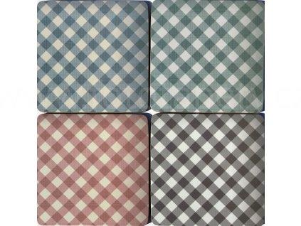 KP201 Set 4 ks korkových podložek 10,5 x 10,5 cm, Káro vzor, pastelové barvy