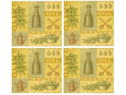 KP204 Set 4 ks korkových podložek 10,5 x 10,5 cm, Olivy