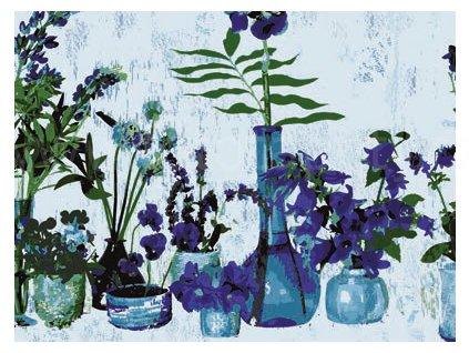 Transparentní folie na sklo 1-2-3 static Premium - Fialové květiny
