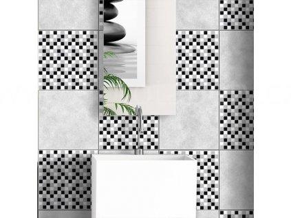 Samolepka na kachličky, vzor Mozaika černobílá, 20x20cm