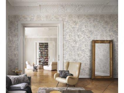 Vliesová tapeta na zeď Rasch 526141 - Šedé palmy, kolekce Vanity Fair II 0,53 x 10,05 m