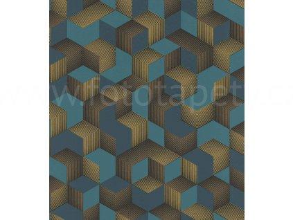 Vliesová tapeta na zeď Rasch 403909 - Modro zlaté krychle, kolekce Denzo 0,53 x 10,05 m