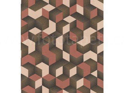 Vliesová tapeta na zeď Rasch 403916 - Růžovo zlaté krychle, kolekce Denzo 0,53 x 10,05 m