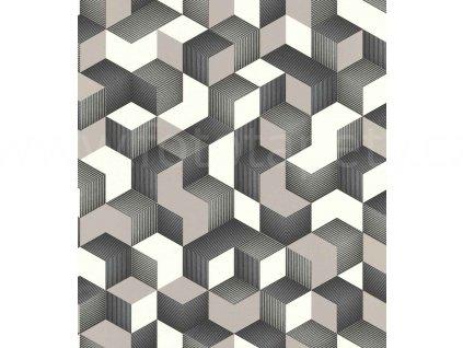 Vliesová tapeta na zeď Rasch 403923 - Béžové krychle, kolekce Denzo 0,53 x 10,05 m