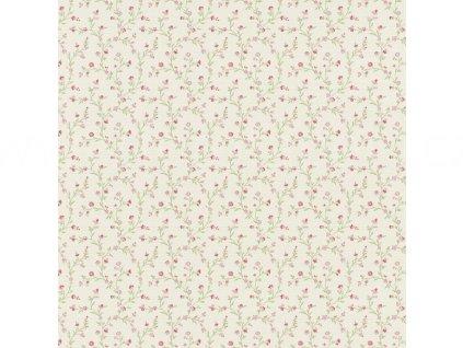 Vliesová tapeta na zeď Rasch 400908 - Růžové kvítky, kolekce Lazy Sunday II 0,53 x 10,05 m