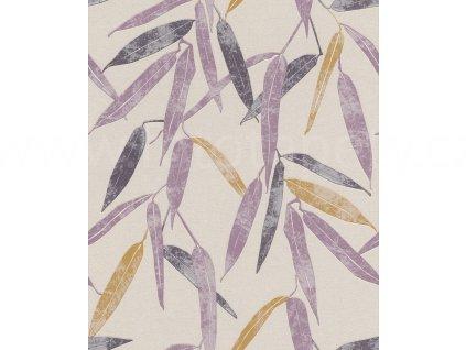 Vliesová tapeta na zeď Rasch 402018 - Fialové listy, kolekce UP Town 0,53 x 10,05 m