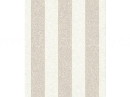 Vliesová tapeta na zeď Rasch 402902 - Béžovo krémové pruhy, kolekce UP Town 0,53 x 10,05 m