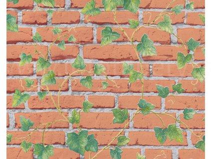 Vliesová tapeta na zeď Best of Wood & Stone 2, 3194-22 - cihlová zeď, břečťan