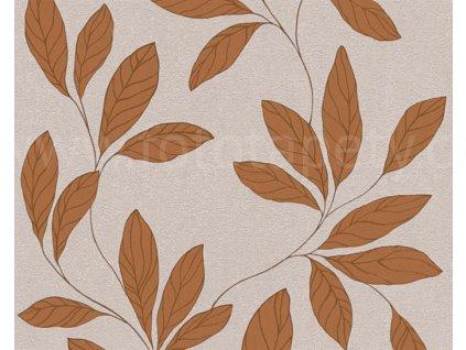 Vliesová tapeta na zeď Amory, 0,53x10,05m, 3242-15 - hnědooranžové listy